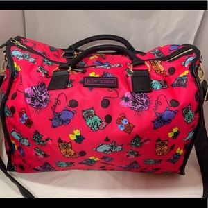 Betsey Johnson's Kitten design Overnight Bag NWOT